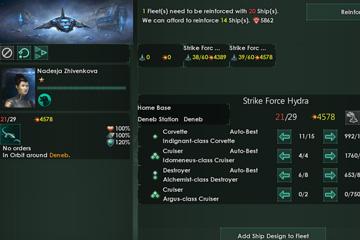 Stellaris'te Filo Yönetim Penceresi ve Ana Üs