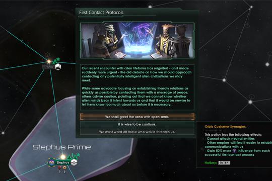Stellaris'te İlk İletişimde Yapılan Değişiklikler